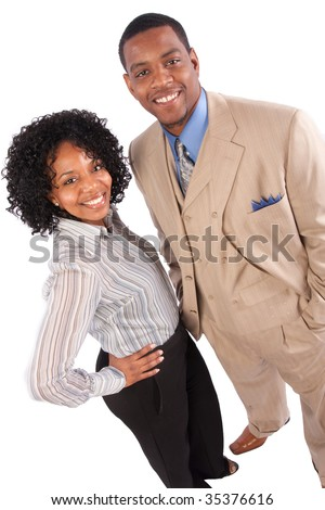 stock photo : a successful couple poses for the camera