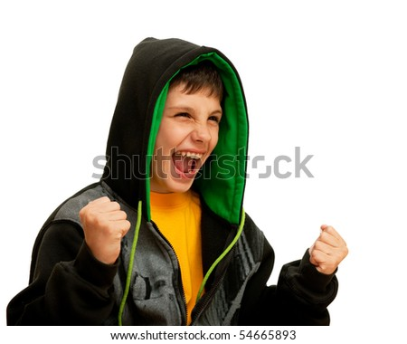 A successful hip-hop dancer is pointing his fists; isolated on the white background