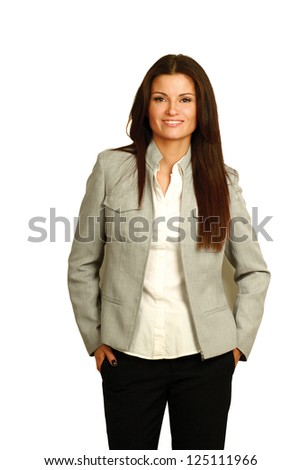 A successful young businesswoman, isolated on white background