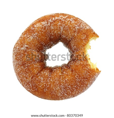 A sugared cake doughnut that has been bitten on a white background.