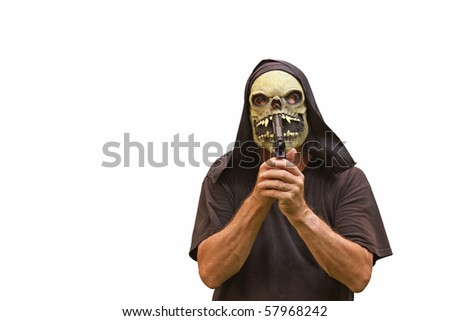 a suicidal madman in a halloween mask with a pistol attempting to kill himself isolated on white with room for your text