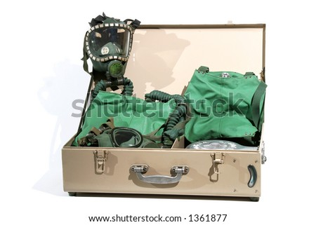 A suitcase with gas masks