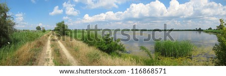 a summer Dnieper backwater panoramic view in Southern Ukraine