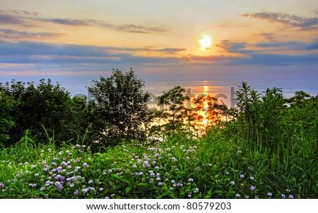 a summer sunset at Bayfield Beach, Ontario - stock photo