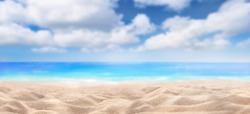 A summer vacation, holiday background of a tropical beach and blue sea and white fluffy clouds.