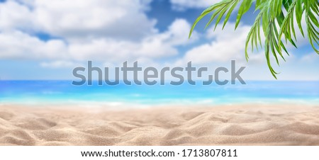 A summer vacation, holiday background of a tropical beach and blue sea and white fluffy clouds and green leaves of a palm tree.