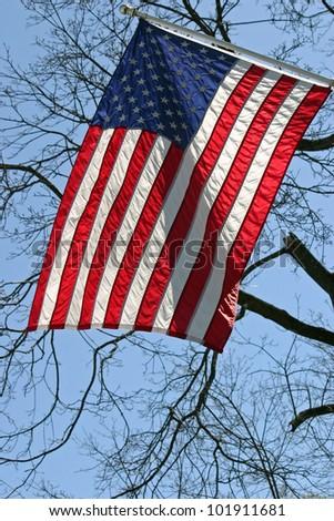 A sunlit American flag