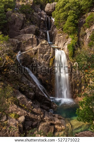 a Sunny Day in Arado Waterfall, Geres National Park, Portugal