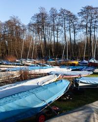 A sunny sailing club boatyard