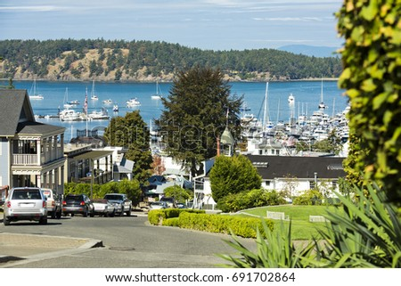 A sunny summer morning in Roche Harbor on San Juan Island, Washington.