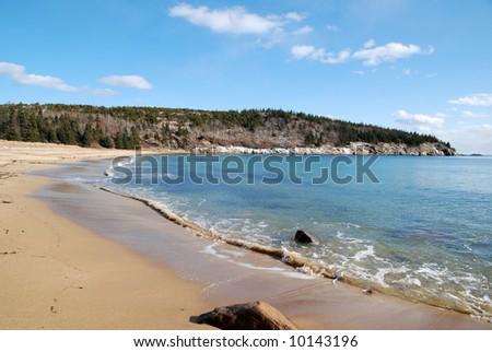 Sunny Winter Day At Sandy Beach, Acadia National Park, Maine. Stock ...
