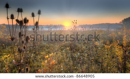 A Sunrise over a prairie in the American Midwest