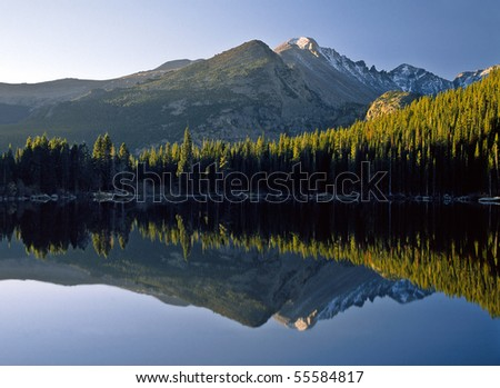 A sunrise reflection at Bear Lake in Rocky Mountain National Park.