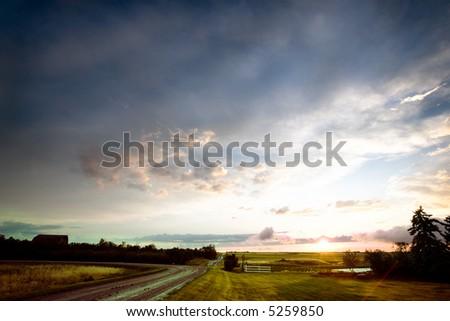 A sunset after a rain storm in rural Saskatchewan, Canada