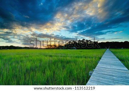 A Sunset Over the Marsh and Dock - Charleston, South Carolina