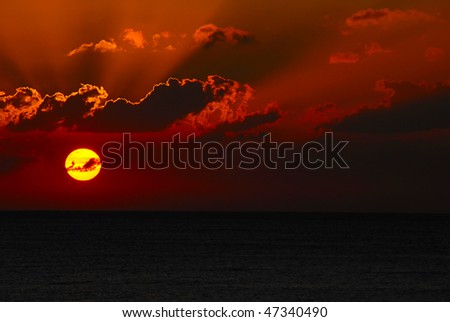 A sunset over the ocean