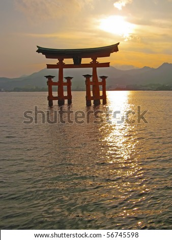 """A sunset view of the world heritage """"Floating Gate"""" near Hiroshima, Japan"""