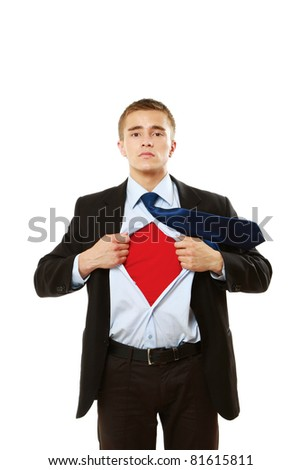 A super business man isolated on white background