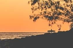 A surfer checks the early morning conditions at Tea Tree, Noosa.