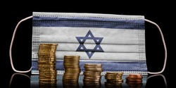 A surgical mask with the flag of Israel behind some descending stacks of various coins.(series)