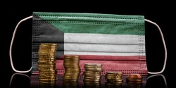 A surgical mask with the flag of Kuwait behind some descending stacks of various coins.(series)