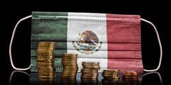 A surgical mask with the flag of Mexico behind some descending stacks of various coins.(series)