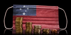 A surgical mask with the flag of Samoa behind some descending stacks of various coins.(series)