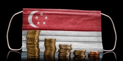 A surgical mask with the flag of Singapore behind some descending stacks of various coins.(series)