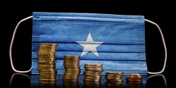 A surgical mask with the flag of Somalia behind some descending stacks of various coins.(series)