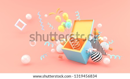 A surprise box surrounded by balloons and ribbon on a pink background.-3d rendering.