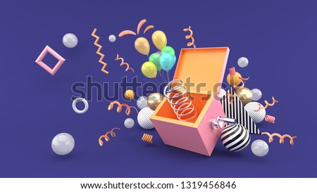 A surprise box surrounded by balloons and ribbon on a purple background.-3d rendering.