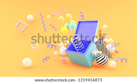 A surprise box surrounded by balloons and ribbon on an orange background.-3d rendering.