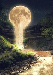 A surreal and dreamlike landscape of moonlight flowing like water into a river.