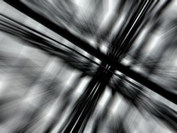 A surreal check pattern that is bursting with motion. The abstract black and white rays lead towards the off center focal point giving depth to the image.
