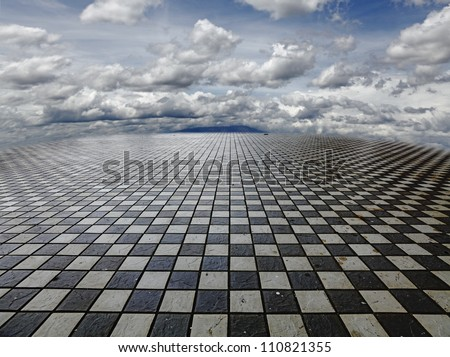 A surreal fantasy landscape of a vast checker matrix with mountains and clouds in the horizon.