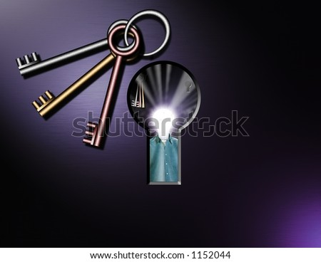 A surreal image, Looking through a keyhole the viewer sees a lightbulb headed man