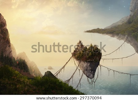A surreal landscape at sunset with floating islands.