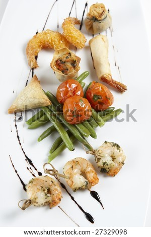a Sushi platter  on a white background