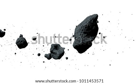 a swarm of asteroids isolated on white background (3d illustration)