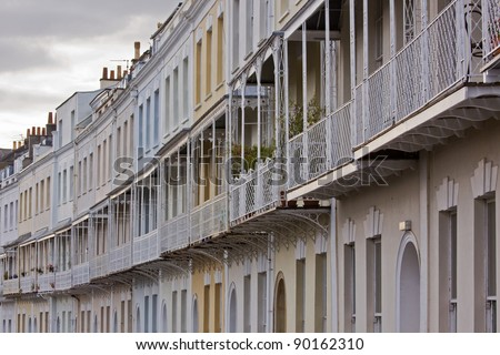 A sweep of house balconies and rails, part of the Georgian Royal York Crescent in Clifton, Bristol UK, which is reputed to be the longest of its type in Europe