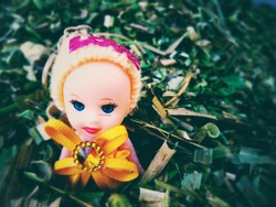 A Sweet little doll isolated on the Green background
