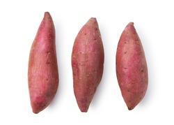 A sweet potato placed on a white background. A view from above.