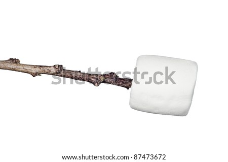 A sweet, soft, chewy raw marshmallow on a stick isolated on white.