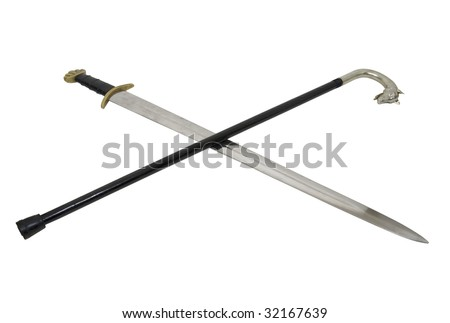 A sword cross with a silver handled wolf cane used for walking to assist with balance and for that sophisticated look