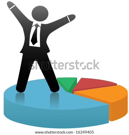 A symbol business man celebrates a financial market share success standing on a colorful pie chart.