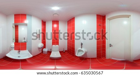 A symmetrical panoramic shot inside the restroom inside the sports club.