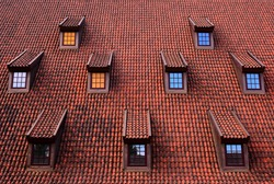 A symmetrical roof spotted in Gdańsk, Poland.