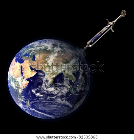 A syringe injecting a sick earth with medicine representing healing for the ills of the planet.  Earth image courtesy of NASA.
