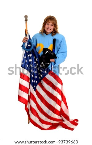A t'ween Ringette Player in Uniform Holding the American Flag
