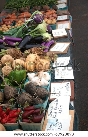 A Table of Assorted Vegetables at the Local Open Air Market